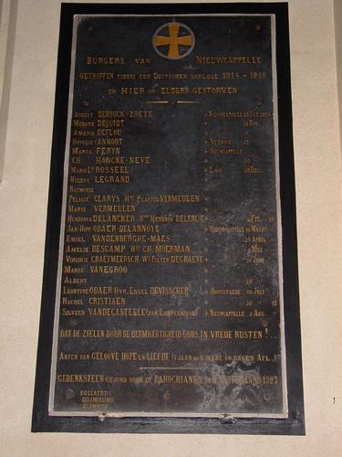 Nieuwkapelle: gedenkplaat burgers WOI