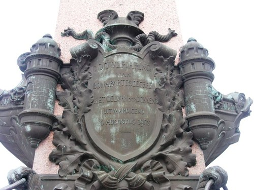 Antwerpen Godefriduskaai Opschrift gedenkzuil