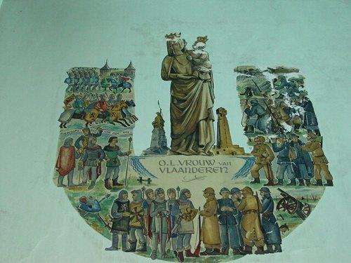 Kaaskerke: Kerk: Muurschildering OLV van Vlaanderen