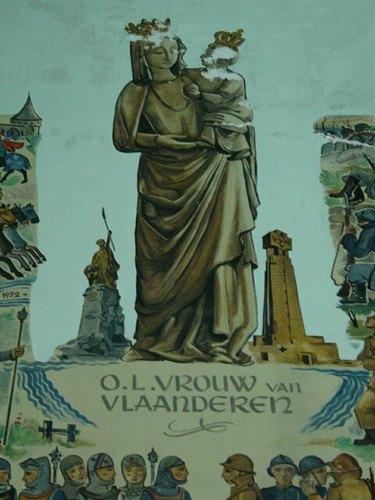 Kaaskerke: Kerk: Muurschildering OLV van Vlaanderen: Detail