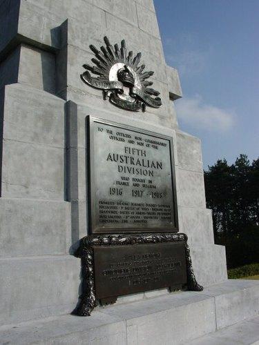 Zonnebeke: Obelisk: 5th Australian Division: Detail