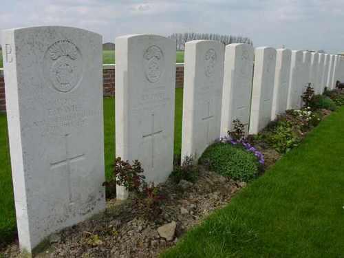 Boezinge: Dragoon Camp Cy: detail: graven Royal Welsh Fusiliers