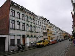 Ensemble van twee huizenrijen met achterliggende bedrijfsgebouwen