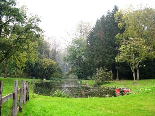 Bij het Kasteel van Walfergem, resterend gedeelte van de gracht rond de voormalige eilandtuin, heraangelegd als landschappelijke vijver in de jaren 1860.