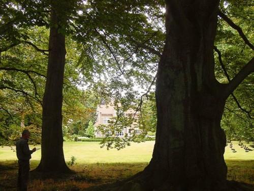 Het kasteel Lacourt of Villa All Right vanuit het rond 1870 aangelegde park, met oude bruine beuken op de voorgrond