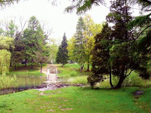 Nog nauwelijks zichtbaar: de 'rotstrap' in het vermoedelijk door Meyer aangelegde landschappelijk plantsoen naast het zwembad