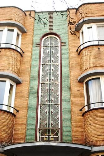 Gent Rijsenbergstraat 75 85 detail ladderraam