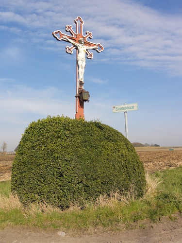 Wegkruis met topiary van buxus