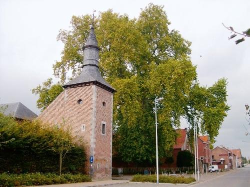 Noordelijke toegang tot het kasteel van Hoepertingen beschaduwd door twee monumentale platanen