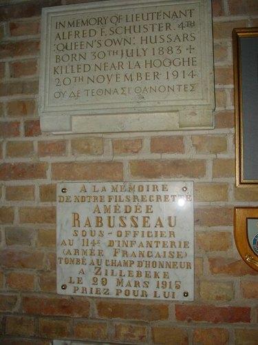 Zillebeke Zillebeke-Dorp 7 Parochiekerk Sint-Catharina Gedenkplaat Schuster en Rabusseau