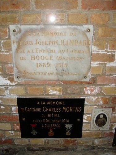 Zillebeke Zillebeke-Dorp 7 Parochiekerk Sint-Catharina Gedenkplaat Chambard en Mortas