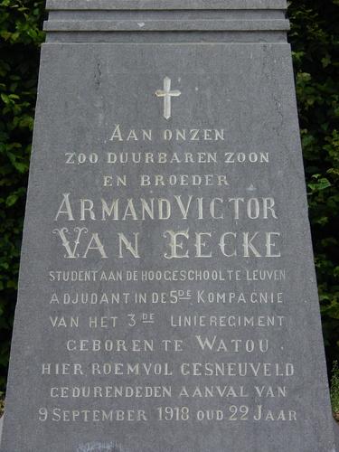 Merkem: Iepersteenweg: Monument Van Eecke: Tekst