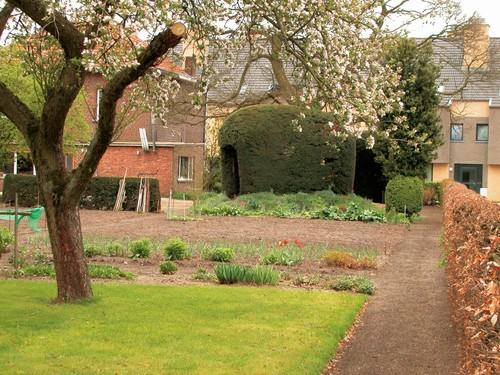 Beringen Koersel-Dorp, Omhaagde en gemengde tuin voor nut en sier met gesnoeid tuinprieel van taxus