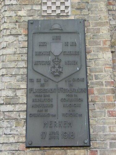 Merkem Kouterstraat 26 Gemeentehuis Gedenkplaat 11de Linie
