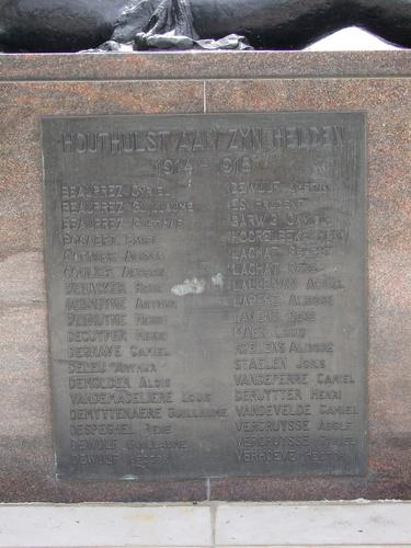 Houthulst: 7de Artilleriestraat: Standbeeld: Gedenkplaat