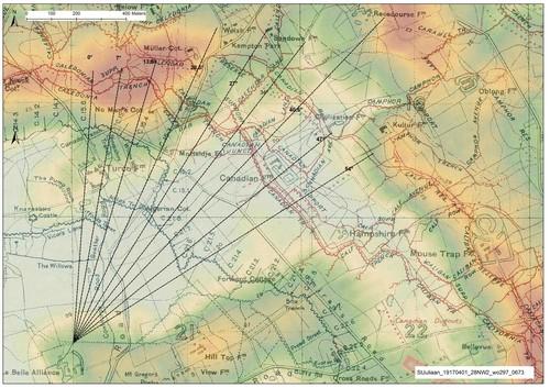 Ieper, Pilke, zicht vanuit de Britse posities nabij de Briekestraat op de Duitse posities bij Mauser ridge en Pilkem ridge, cfr. Britse panoramafoto 1915