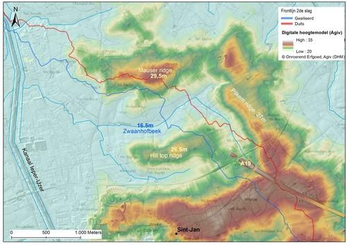 Situering van de strategische hoogtes op het vml. slagveld van Pilkem ridge