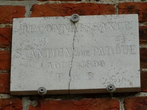 Gent Baarleveldestraat Opschrift van de kapel