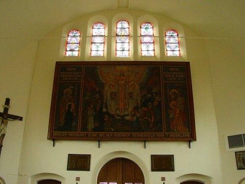 Brielen: kerk: schilderij en glasraam