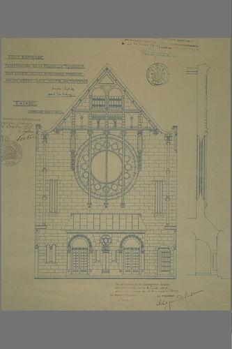 Synagoge (Joseph De Lange): plan, voorgevel aanzicht, doorsnede gevelopstand