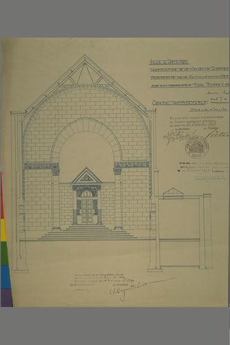 Synagoge (Joseph De Lange): plan, dwarsdoorsnede