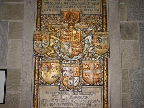 Ieper: kathedraal: gedenkplaat Commonwealth doden: detail