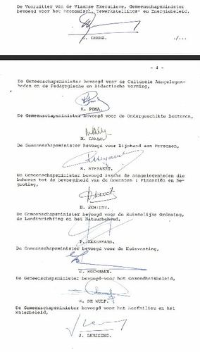 Besluit met handtekeningen regering Geens