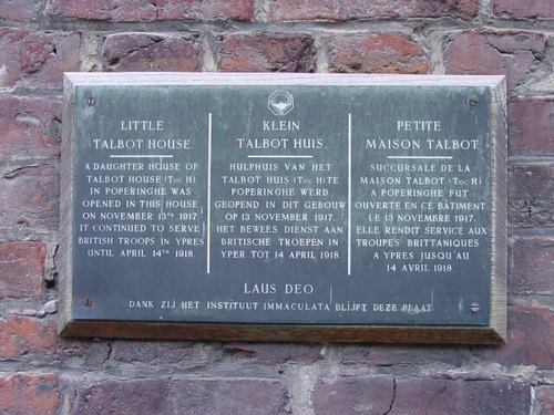 Ieper: gedenkplaat Little Talbot House