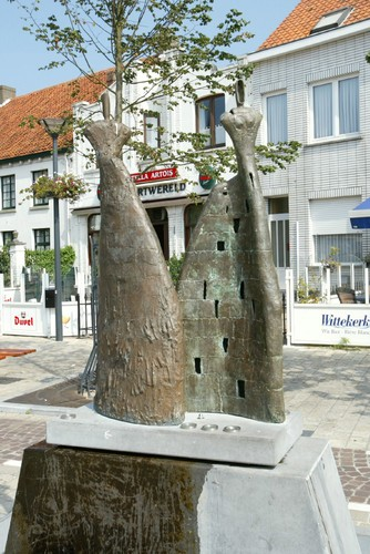 Bronzen kunstwerk Zee-polder-zand