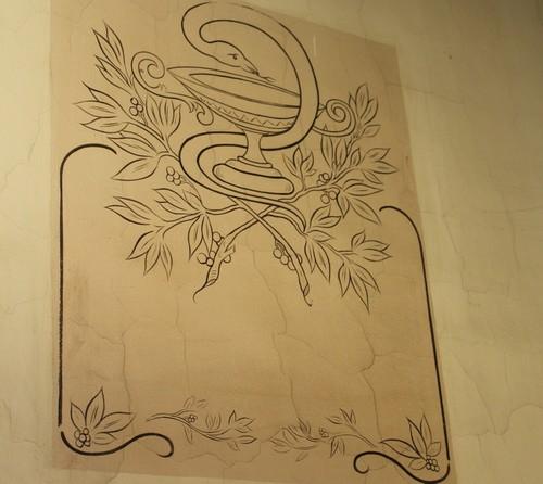 Borgerhout Langstraat 96 muurschildering in vestibule