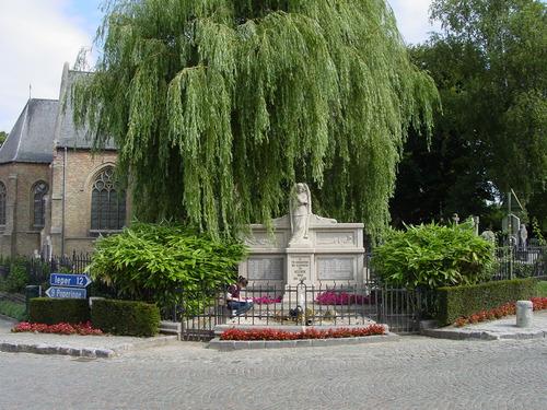 Westouter: gedenkteken burgers & militairen: ligging