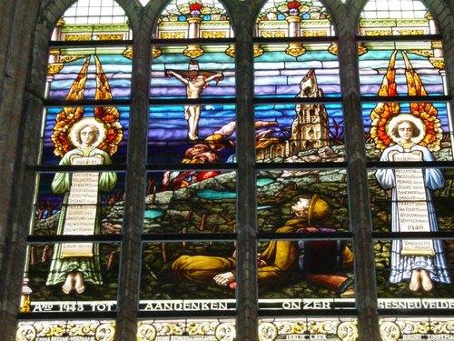 Boezinge: kerk: glasraam: detail