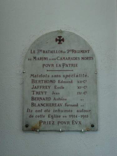 Adinkerke: Gedenkplaat: Franse Marinefusiliers