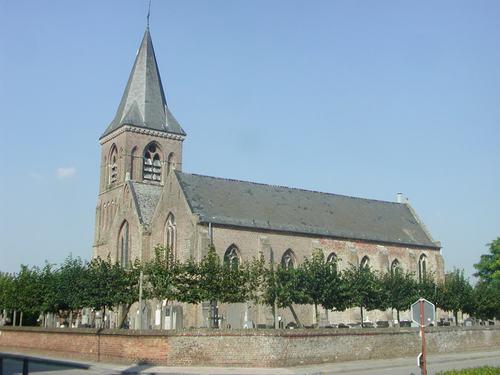 Jabbeke Vedastusstraat 69 kerk zijaanzicht